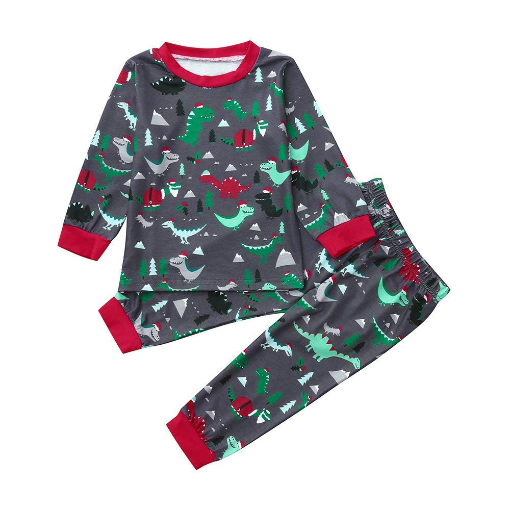 Yihaojia 2PCS Winter Autumn Cotton Set Toddler Baby Boys Long Sleeves Dinosaur Print Top+Pants Clothes Suit Set 18M-5T (age: 4-5 years old, Green)
