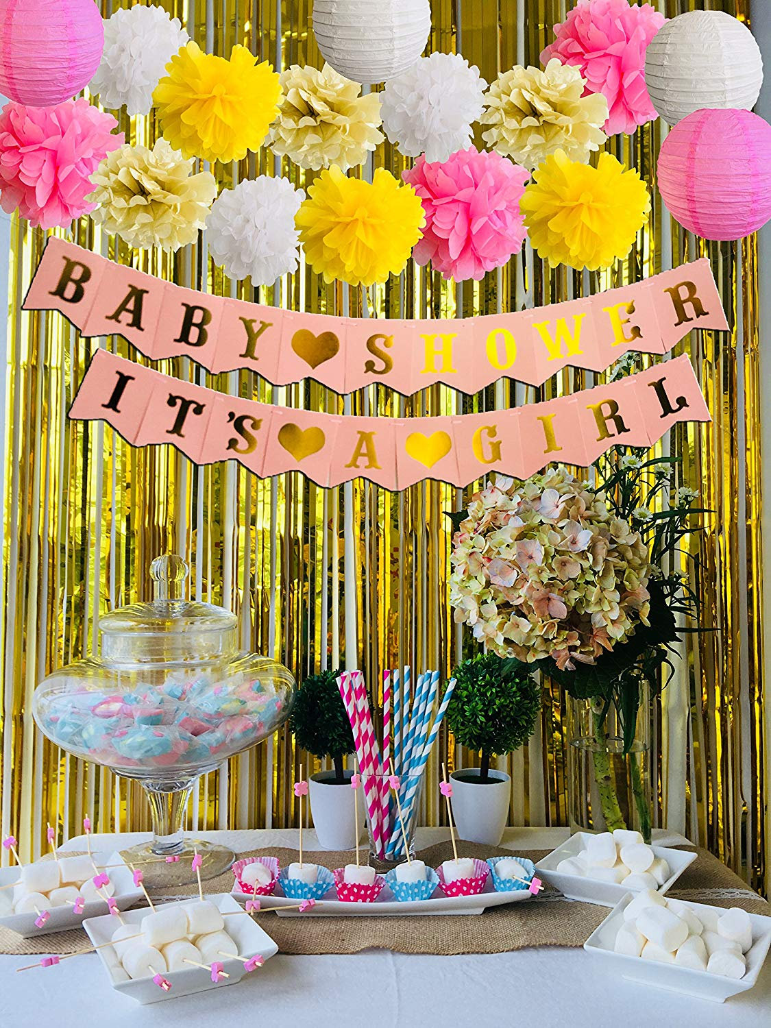 Cheap girl baby shower decoration find girl baby shower decoration get quotations baby shower decoration for girl its a girl baby shower 23 pieces with balloons party izmirmasajfo