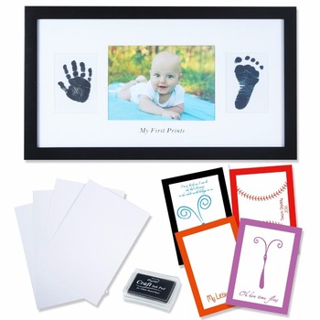 Baby Handprint And Footprint Frame With Ink Pad Hand Casting Kit For