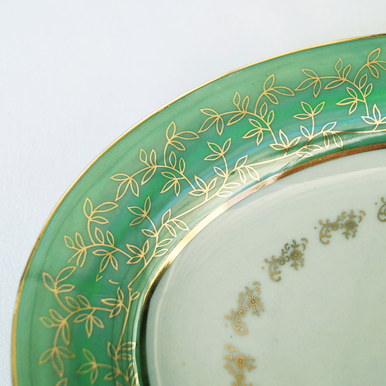 Cheap Price 10 Inch Green Gold Leaf Fine Dining Plates Round Tray Ceramic Dish Plate