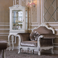 YB06 Elegant white elegant living room glass showcase design