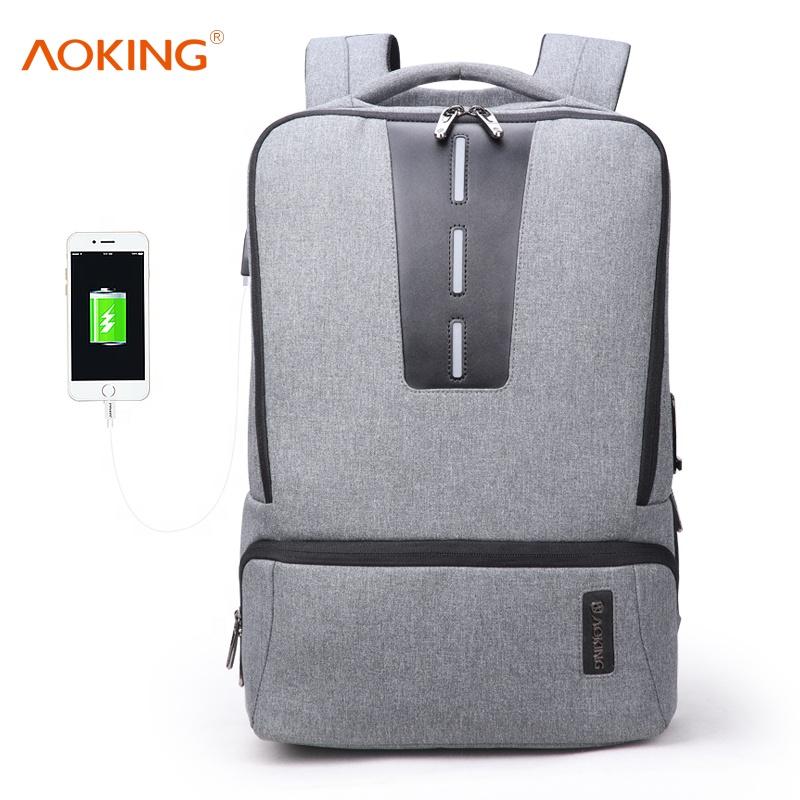 2020 Aoking 패턴 디자인 기술 도난 방지 usb 지문 잠금 비즈니스 품질 보안 도난 증거 도시 스마트 배낭 가방