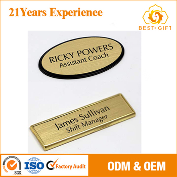oem wholesale metal plate printer name badge stickers buy name