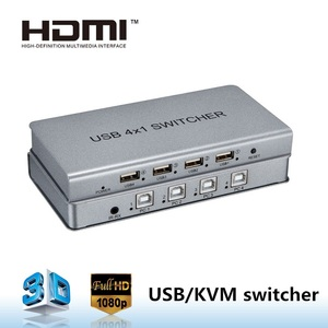 wireless keyboard & mouse 4 port hdmi USB kvm switches 1 input 4 output from shenzhen factory