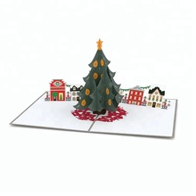 Chinese Professional Manufacturer Laser Cut Custom Merry Pop Up Christmas Card 3D