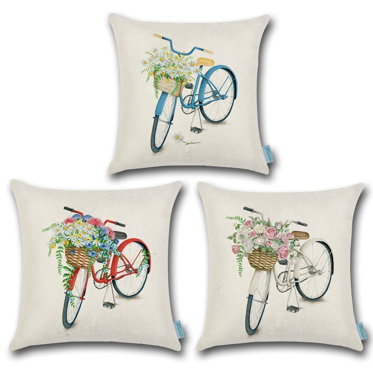 CARRIE HOME Bicycle Decorations Red Blue and White Bike Seat Pillow Covers 18x18 Inches, 3 Pack