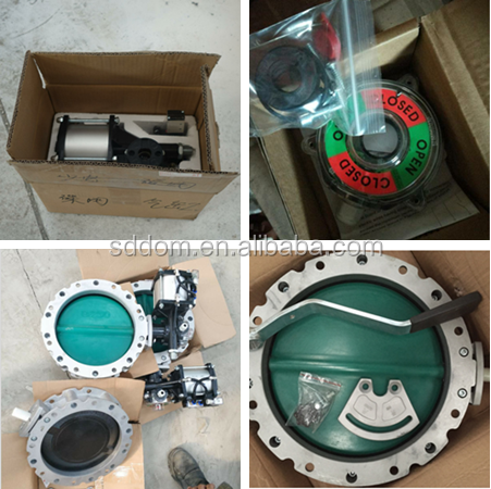 single double flange powser cement silo DN100 TO DN 400 butterfly valve with manual or pneumatic actuator