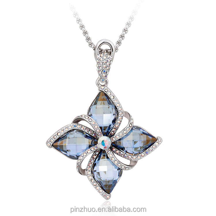 22 k gold jewelry,Charm white gold necklace with heavy flower pendant фото