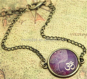 Tree Of Life Bracelet Yoga Jewelry Om Aum Zen Buddhism Purple Henna Art Print Gl Bangle Bracelets