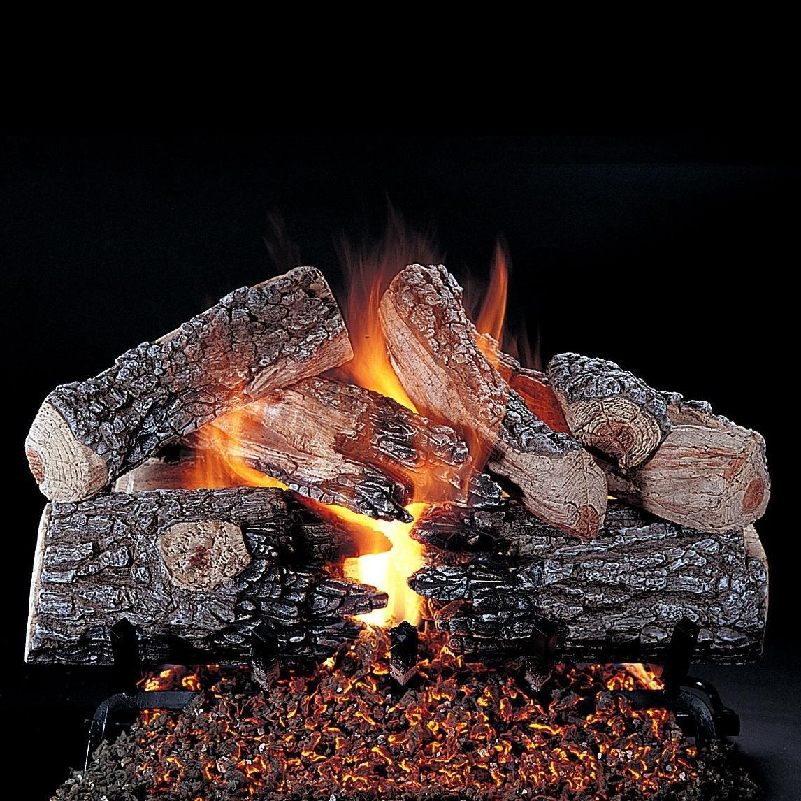 Rasmussen 30-inch Evening Prestige Gas Log Set With Vented Natural Gas Custom Pan Burner - Variable Flame Remote