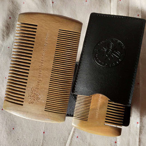 wholesale custom private label logo double sided wooden beard comb wood moustache comb Green sandalwood lice comb in Shandong