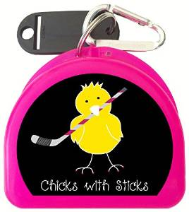 Zumoe Ice Hockey Mouth Guard Case Hockey Mouth Guard Case Ice Hockey Retainer Case or Ice Hockey Dental Case Called Chick with Ice Hockey Sticks, over 50 Designs and 9 Colored Cases Available