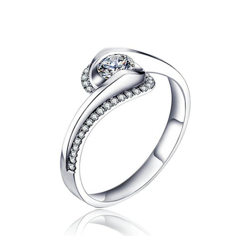 jenia del corazn de circn joyera k chapado en oro anillos de bodas de cristal