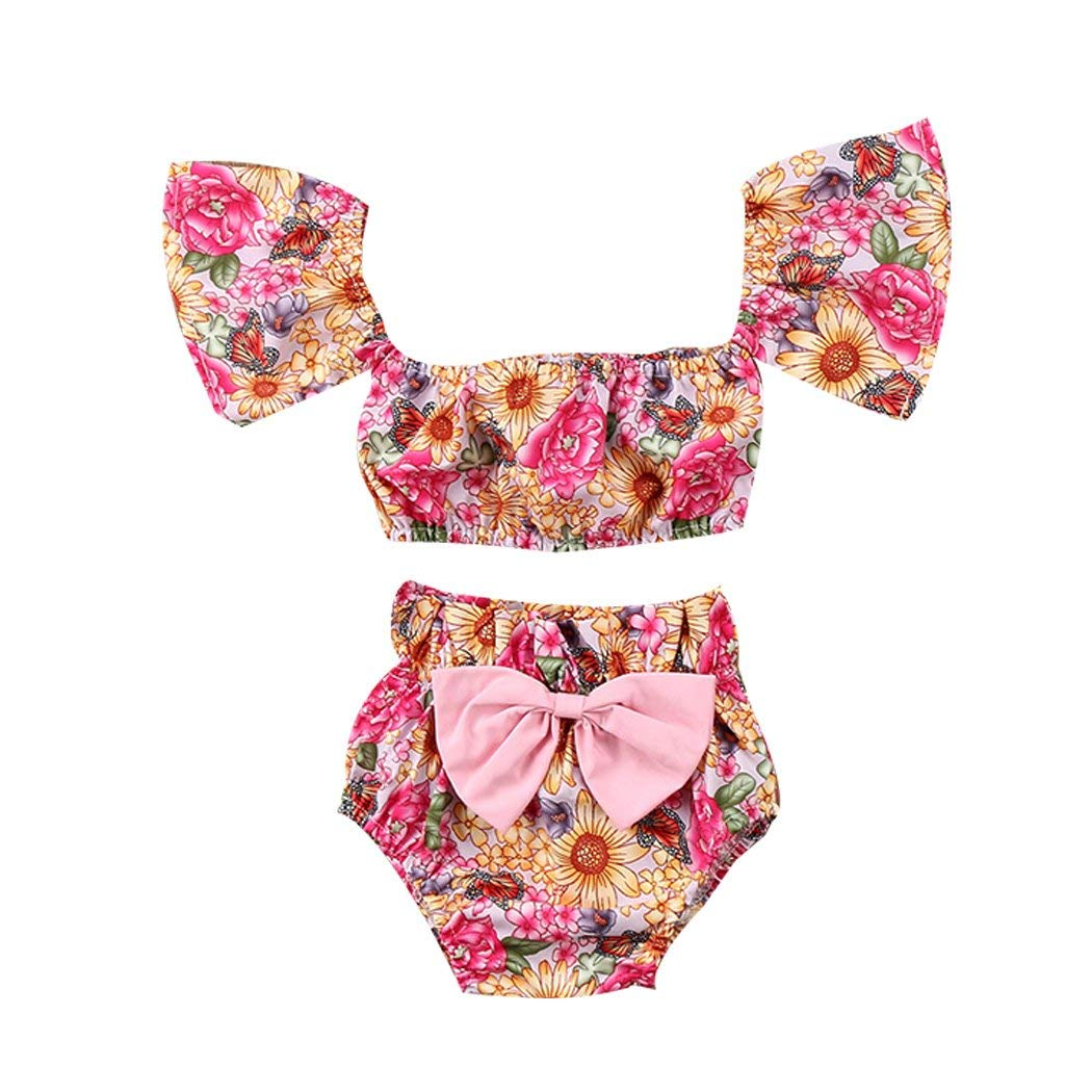 029f0cedb55 Get Quotations · FUNOC Toddler Baby Girls Floral Crop Tops+Bowknot Shorts  2pcs Outfits Set Sunsuit Clothes
