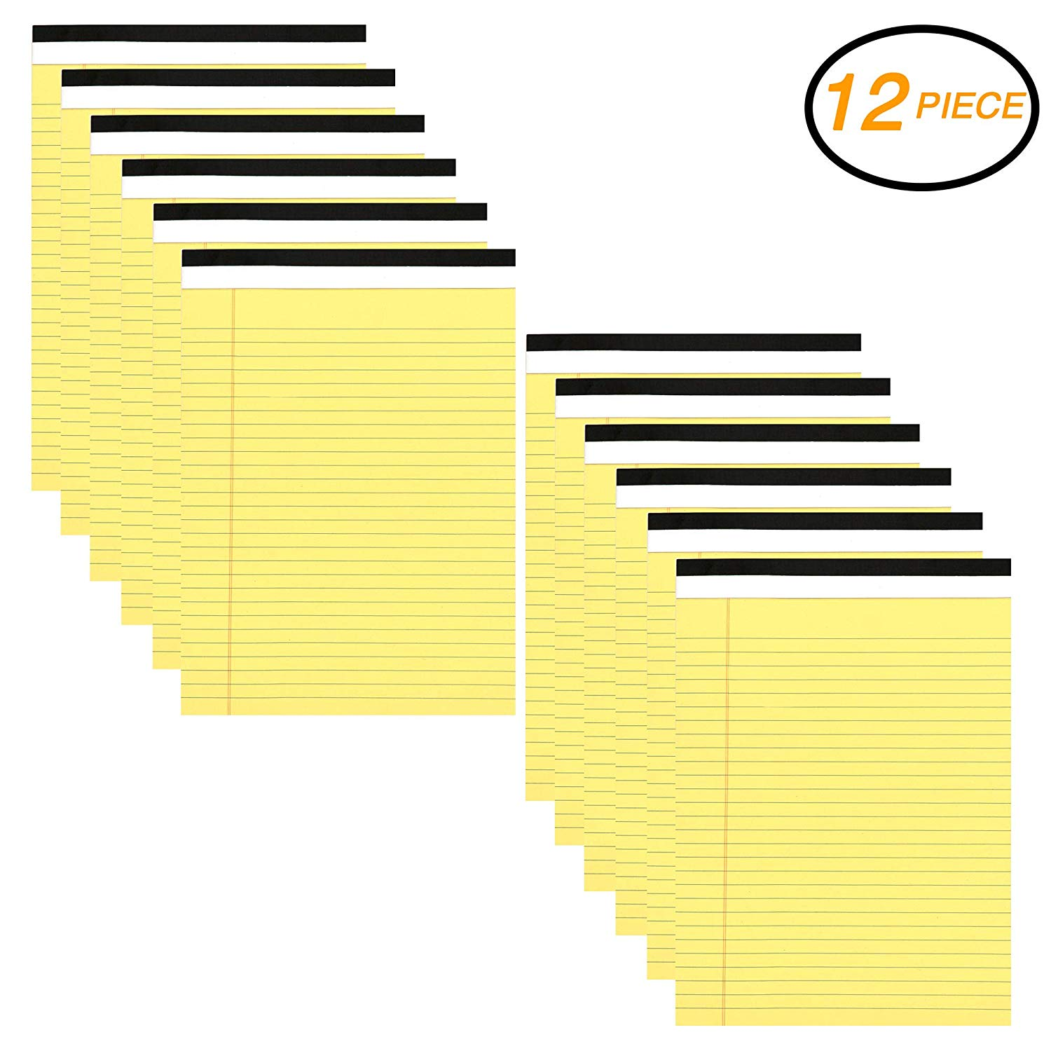 "EMRAW Canary Yellow Micro Perforated Edge Legal Ruled Universal 50 Sheets Letter Size Writing Pad - 50 Ct. 8.5"" X 11.75"" (Pack of 12)"