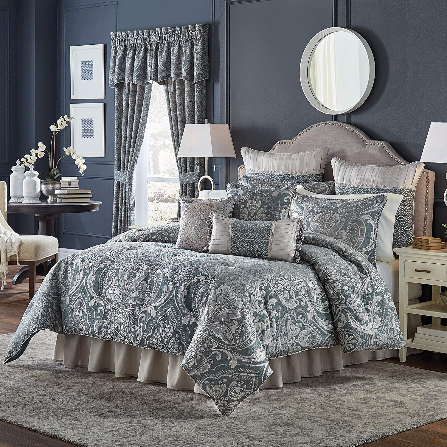 TL 4 Piece Slate Blue Damask Geometric Printed Comforter Set Queen, Light Blue Silver Woven Jacquard Pattern Adult Bedding Master Bedroom Classic Glam Colorful, Polyester