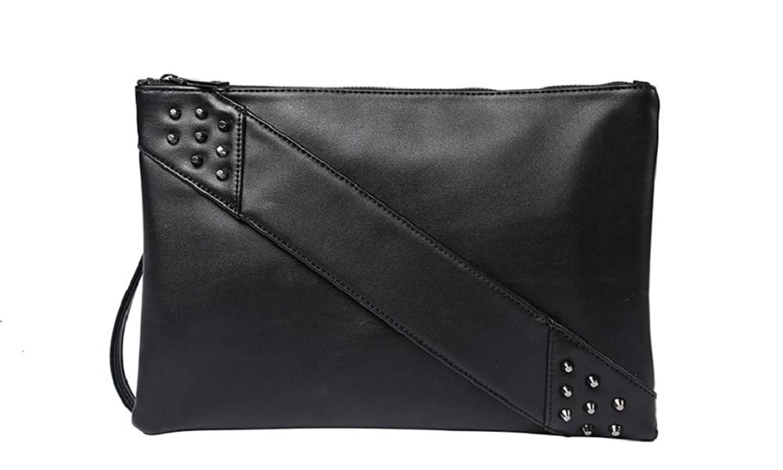 58c92f51da72 Get Quotations · Sleek Black Zip Clutch Purse Studded Arm Handle Wrist Strap