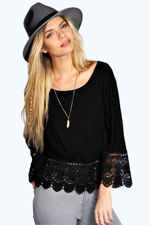 609ffa10ca8 Lace Crochet T Shirts Loose Elegant Girls Tops Plus Size O-Neck Plain T Shirt  Long Sleeve Lace Up T Shirt Sexy Blouse