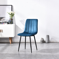 Stock 2020 Hot Sale Commerical hotel Furniture modern upholstered Velvet Fabric dining room chairs with metal legs