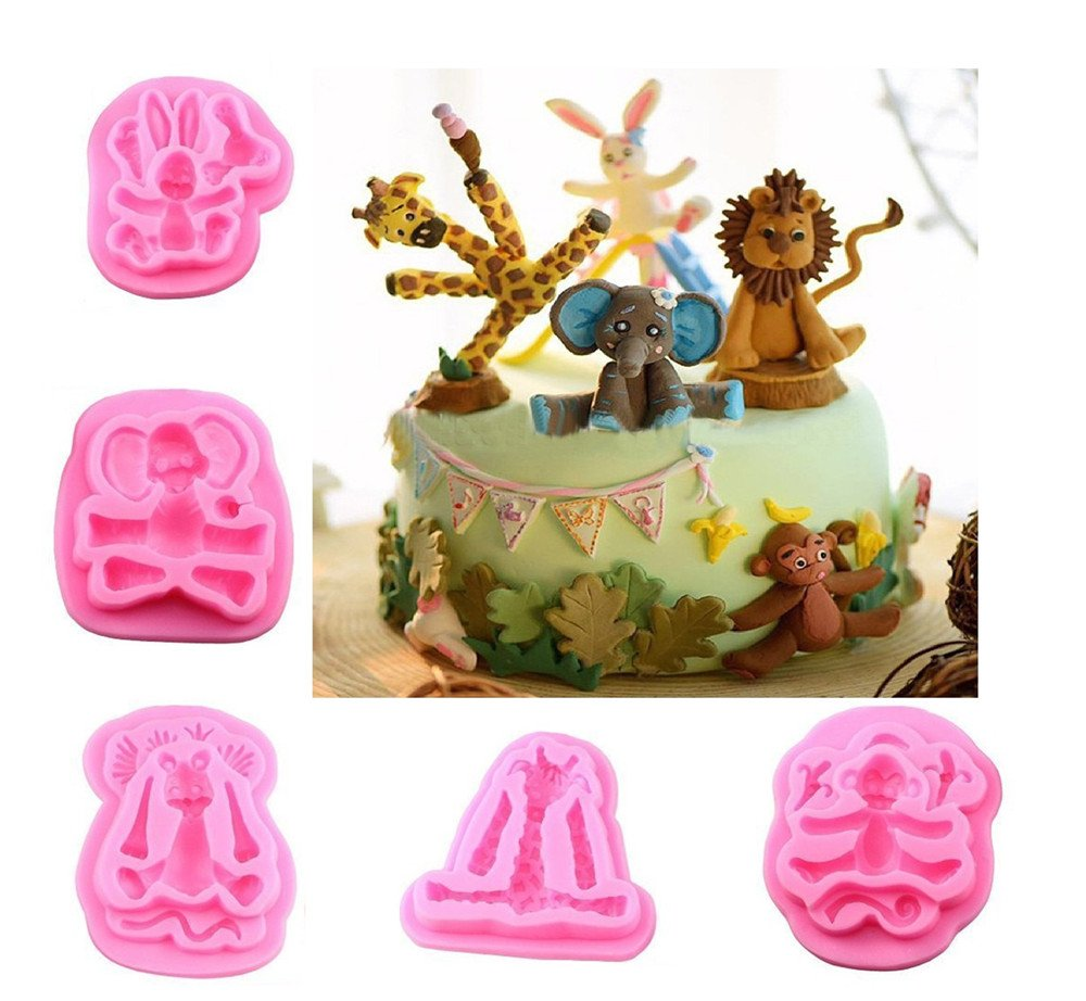 Animal 3D Silicone Molds Fondant Cake Decorating Supplies Set By Garloy,5 Pcs Polymer Clay Molds Cupcake Topper Fondant Chocolate Mould
