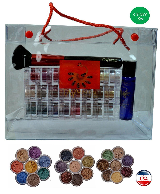 ITAY Mineral Cosmetics 3x8 Stack Eye Shadows+Mica & Glitter Primer Bond+ Powder Brush+Clear Gift Bag (Bundle of 5 Items) (Oro Linda+Best 4 Black Eyes+Best 4 Green Eyes)