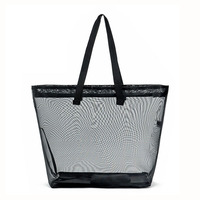 Heavy duty beach tote bag with handle new arrival black nylon large mesh tote bags
