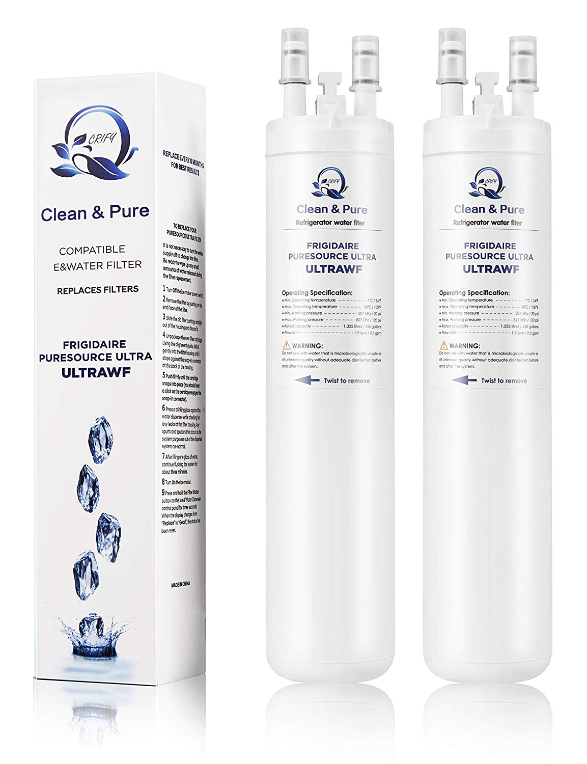 ULTRAWF PureSource Ultra ice makers Replacement Refrigerator Water Filter 2-pack