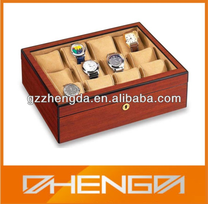 HOT SALE custom made-in-china 12 slots wooden watch storage box (ZDS-F126)
