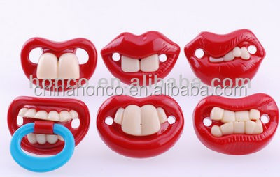 2013 Hot Sell 6 Designs Red Teeth Shape Funny Silicone Baby Pacifiers