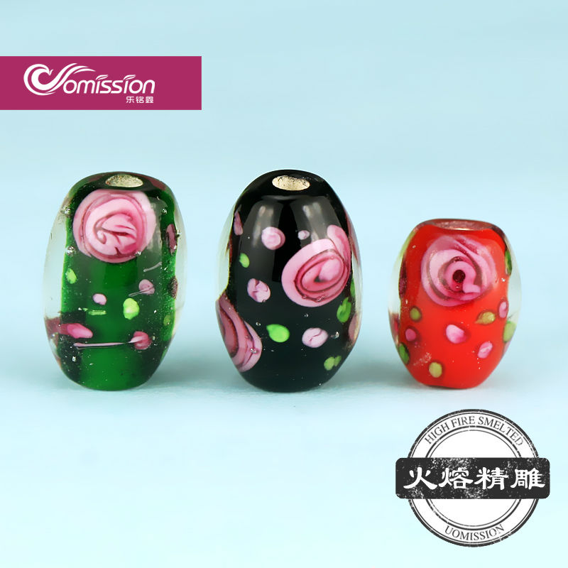 PG-8115 2mm small hole lampwork glass beads pink flower cylinder shaped murano glass beads for fish line bead bracelets