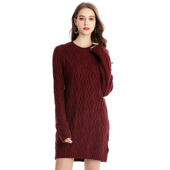 09ee876fab Winter O neck long sleeve knitted pullover fitted tight sweater dress for  women