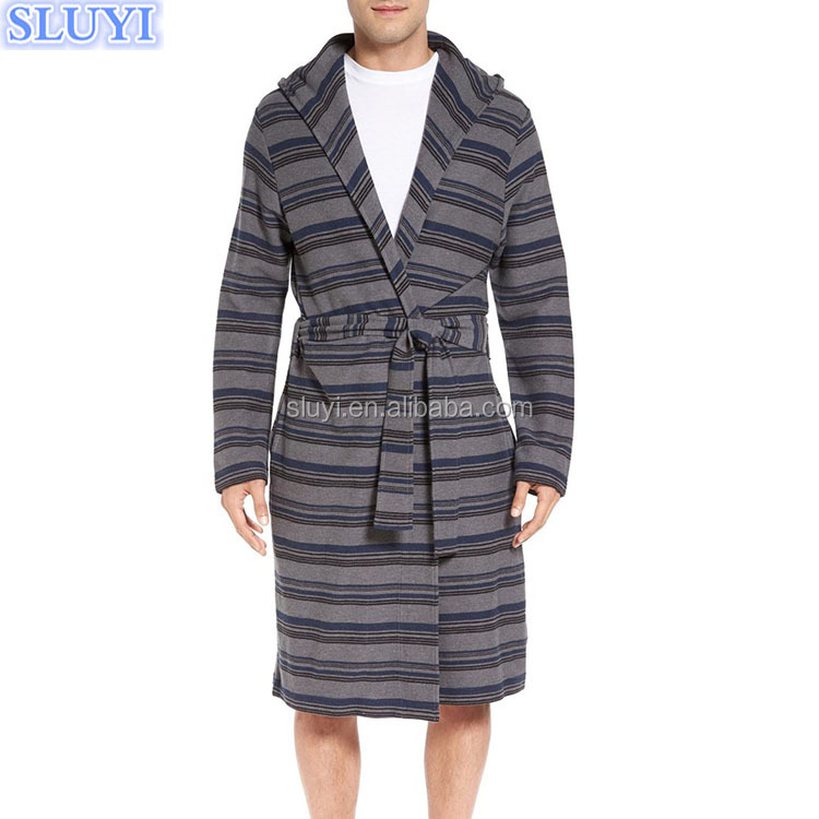 hooded bath robe factory made cheap price warm stripe mens 100% cotton robe wholesale china