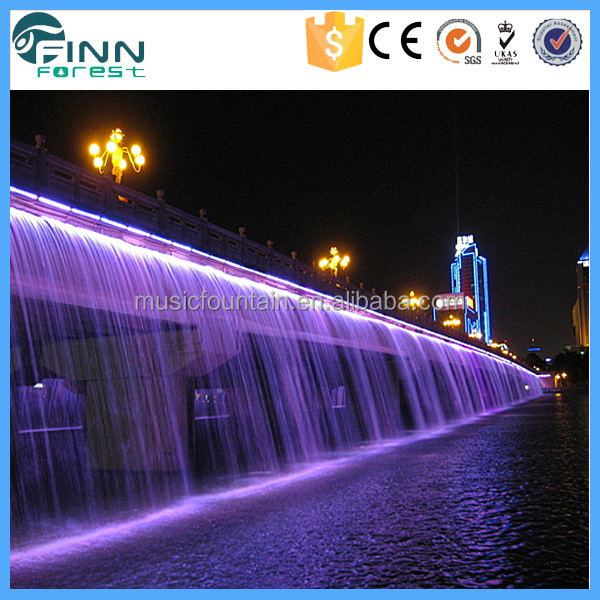 Outdoor Artificial Glass Water Wall Waterfall Curtain Fountain ...
