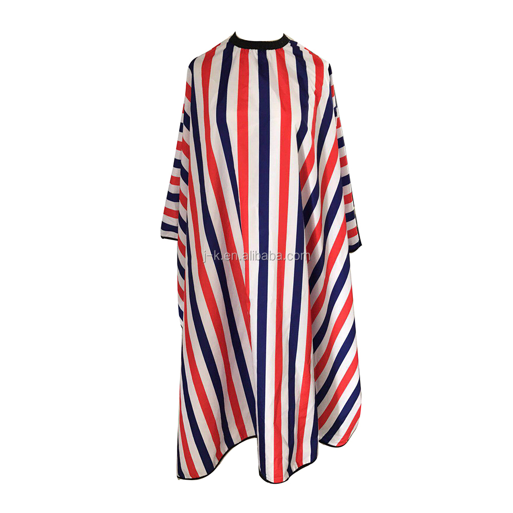 2019 New styling High Quality Salon cutting cape Waterproof stripe polyester pongee taffeta  barber capes hairdressing cape