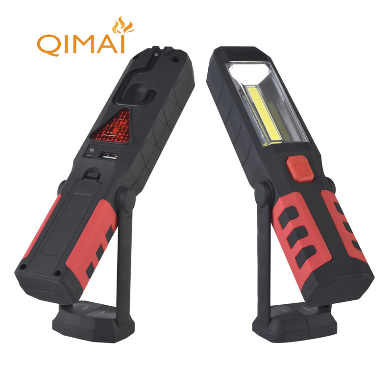 COB torch light rechargeable led flashlight USB Working Light with Magnetic Support Stand Swivel Hook