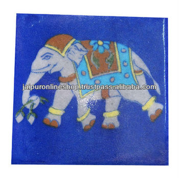 Blue Ceramic Elephant Printed Tiles Buy Blue Ceramic