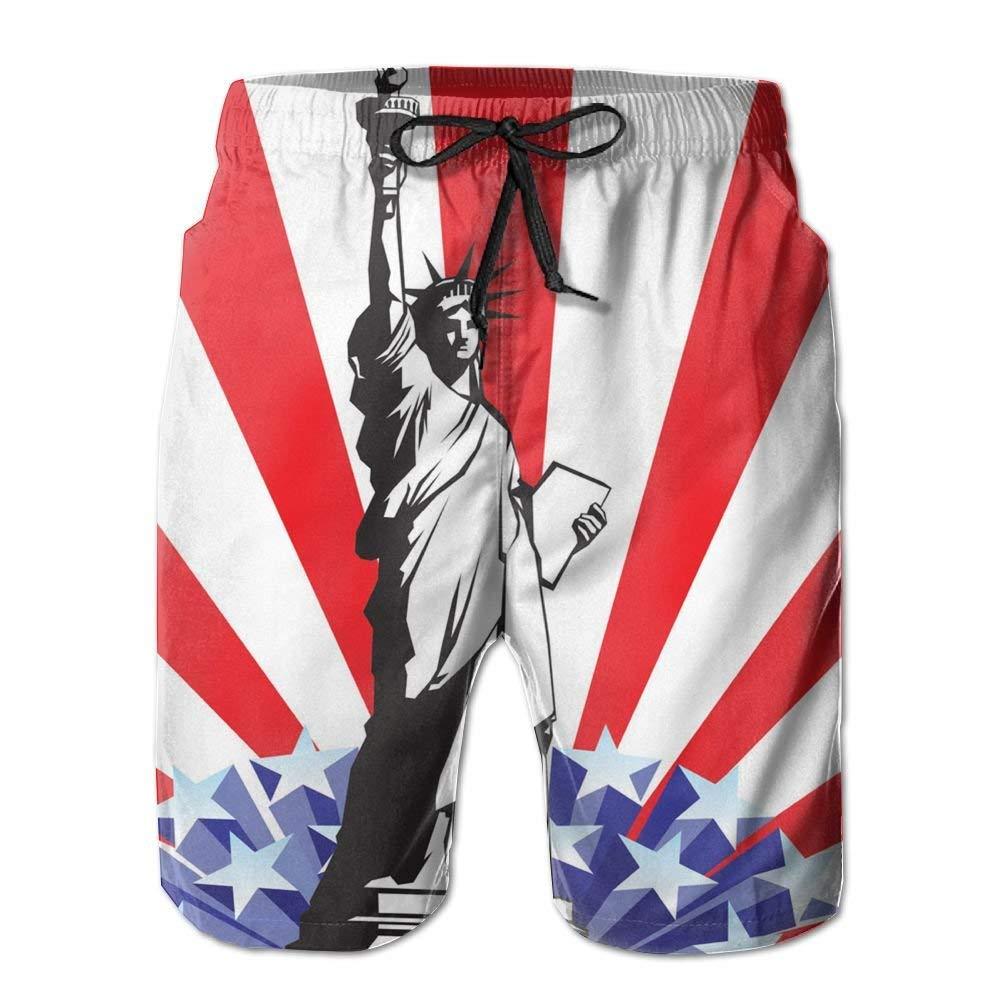 Mens Statue Liberty Lightweights Beach Shorts Sports Swim Trunks Medium