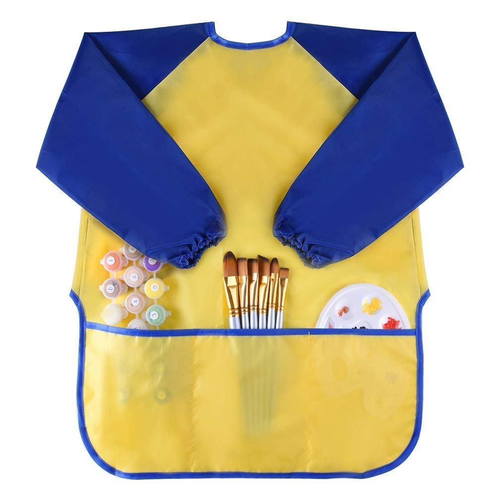 SODIAL Childrens Kids Toddler Waterproof Play Apron Art Smock with 3 Roomy Pockets - Painting, Baking, Feeding Smock - Age 3-8 years (Paints and Brushes not included)
