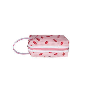 new fashion pvc cosmetic bag red lip print travel toiletry bag popular girls makeup pouch