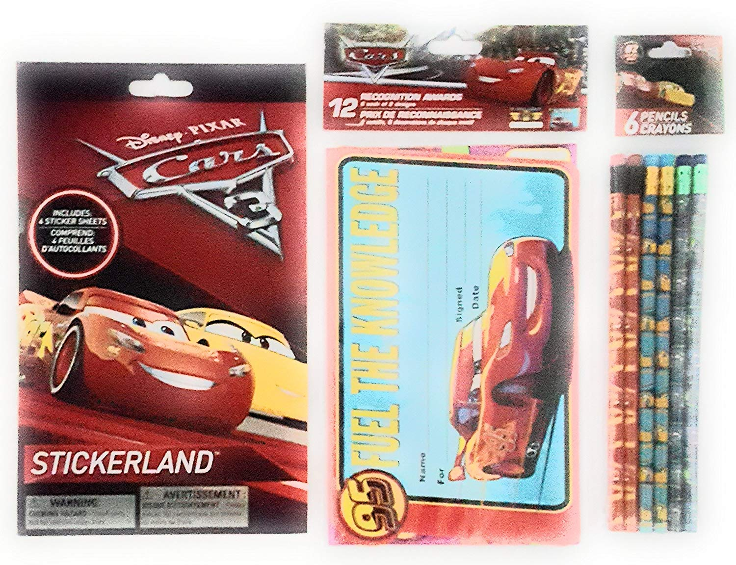 Back to School Pixar Cars Toddler Pre-School Elementary School Supplies Classroom Recognition Awards Pencils Stickers