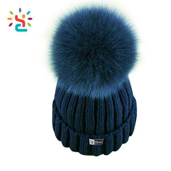 Custom Detachable fur ball oem winter hats girls green knitted ski cap  design 100% cotton aa73e5579bd