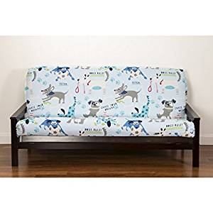 1 Piece Multi Puppies Themed Futon Cover All Over Beautiful Cute Faces Dogs Pattern