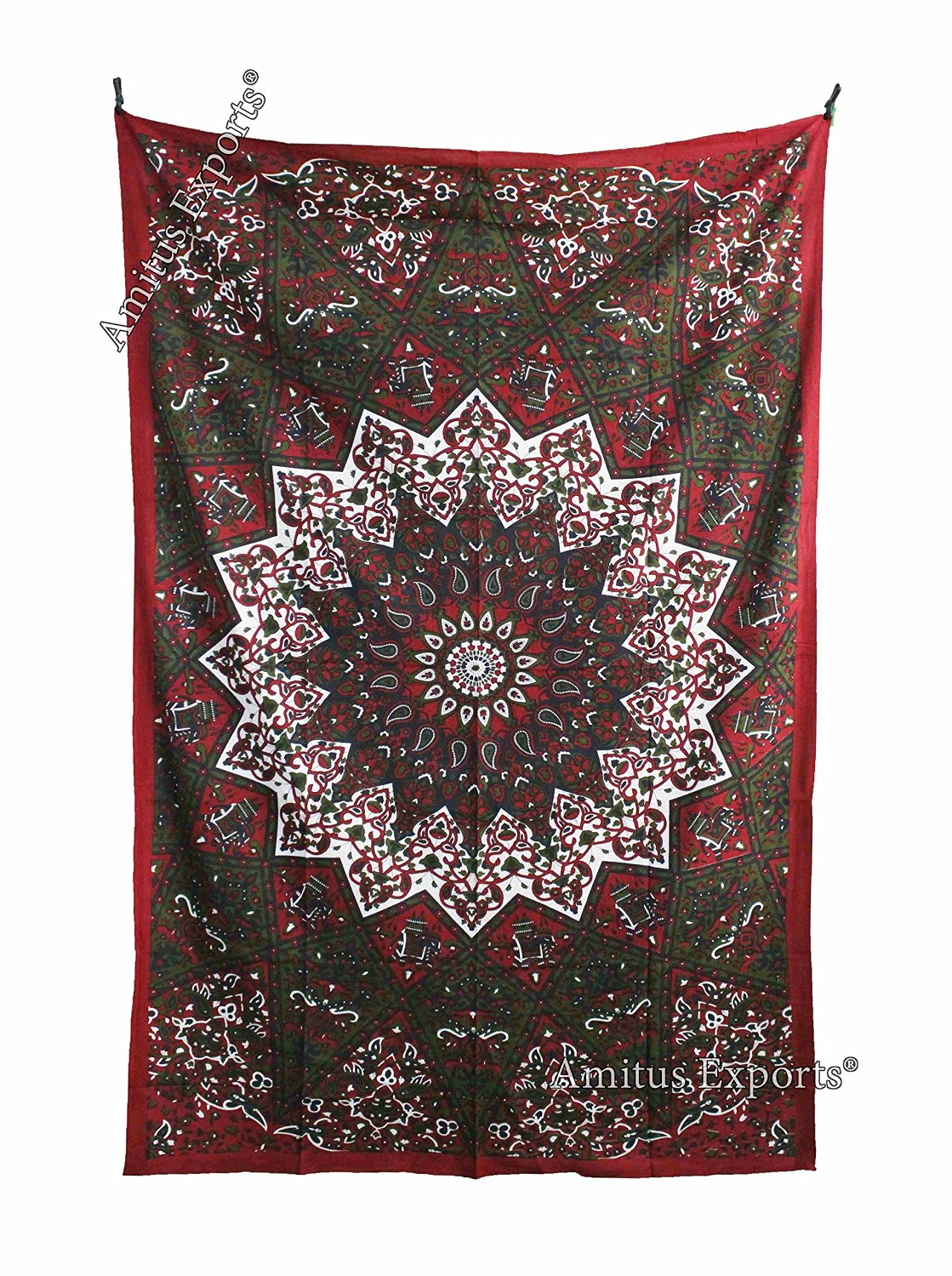 """Amitus Exports 1 X Star Mandala 80""""x53"""" Approx. Inches Maroon & Green Color Cotton Fabric Multi-Purpose Handmade Tapestry Hippy Indian Mandala Throws Bohemian Tapestries"""