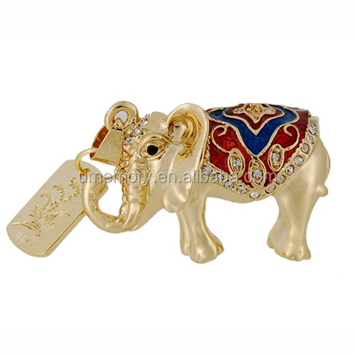 golden elephant shaped usb flash drive , new arrival usb stick pendrive , usb pen drive with free sample