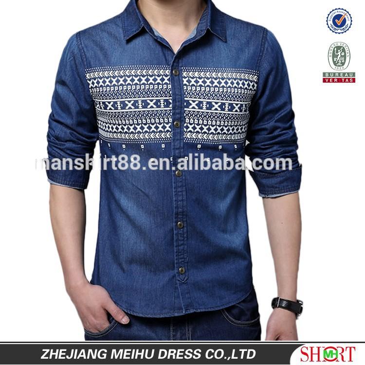 Trendy Style Dark Blue Long Sleeve Dress Shirts For Men