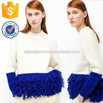 5G Double Color Natural White Wool Cable-knit Sweater With Blue Fringes  Blouse Manufacture Wholesale f91312b52