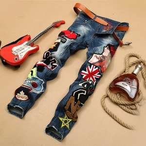 Z93170A 2020 New Fashion Handmade Embroidery Skinny Heavy Washed Men Denim Jeans