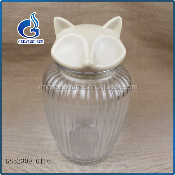 wholesale glass tea caddy ,tea canister,glass jar with ceramic fox decorative lids