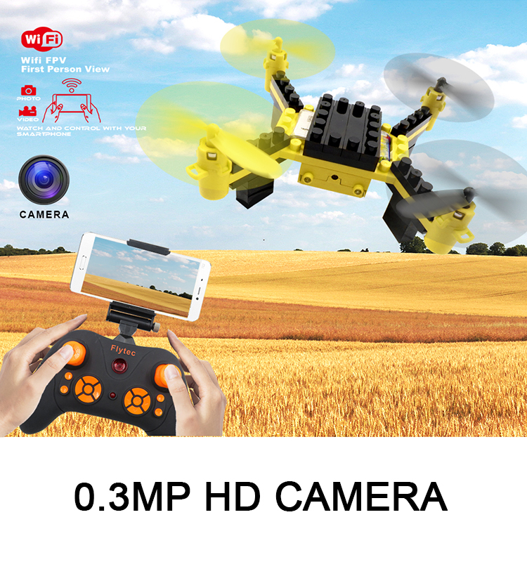 2. T11S_Yellow_WIFI_FPV_DIY_Building_Blocks_Drone_with_0.3MP_Camera_RC_Drone