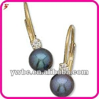 good quality alloy 14k Cultured Pearl Lever Back Diamond Earrings (E730054)